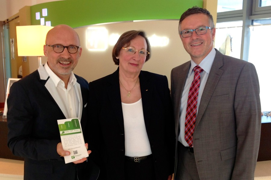 Moderation des TakeOff-Awards<br>Stephan Pregizer, Gudrun Berg, Thomas Tarnok